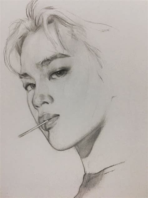V Drawing Jimin by Dika Toolkit On Quot Jimin Sketch Bts