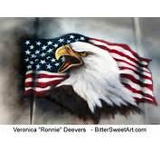 Bald Eagle And American Flag Airbrushed On Car Hood
