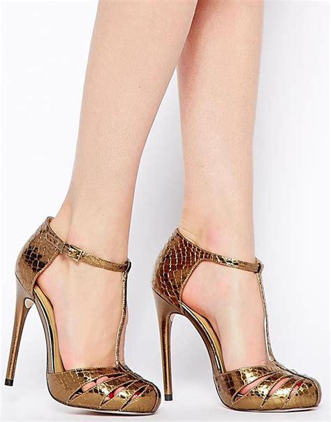 asos high heels asos practiced high heels in metallic lyst