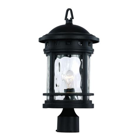 Bel Air Outdoor Lighting Bel Air Lighting 1 Light Black Outdoor Chimney Stack Post Lantern 40373 Bk The Home Depot