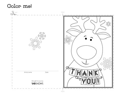 coloring pages of thank you cards reindeer holiday thank you card free printable coloring