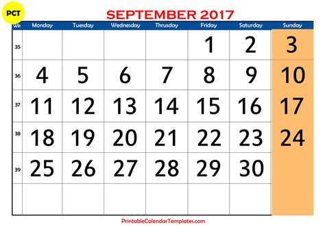 Calendar 2017 Template September September 2017 Calendar Printable Printable Calendar