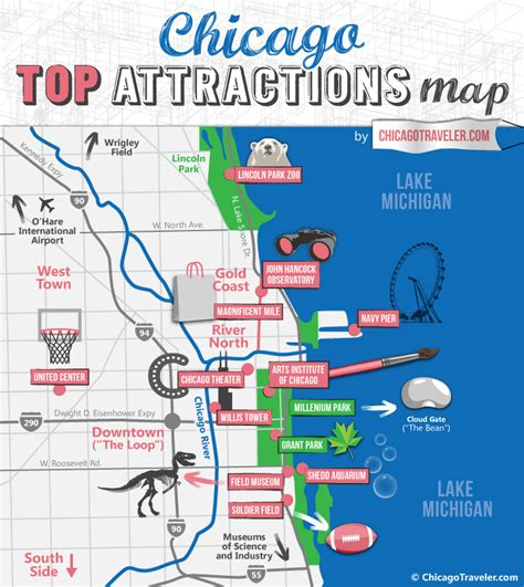 chicago map for chicago attractions map