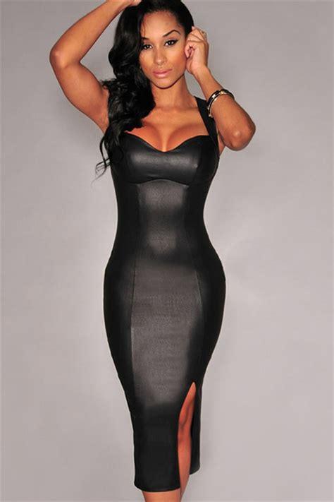 0007232799 black girl white girl black back open sexy ladies faux leather slit clubwear