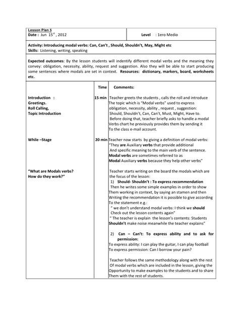 sen lesson plan template 19 sen lesson plan template lesson plan 5 modal verbs 1