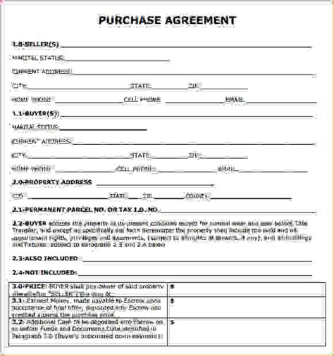 purchasing agreement template purchase agreements