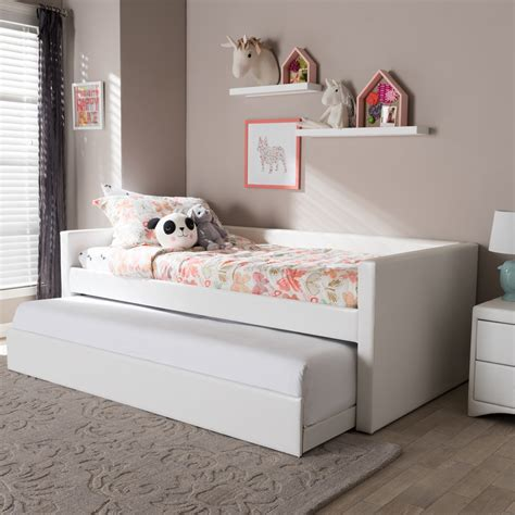 white twin size bed baxton studio risom modern and contemporary white faux
