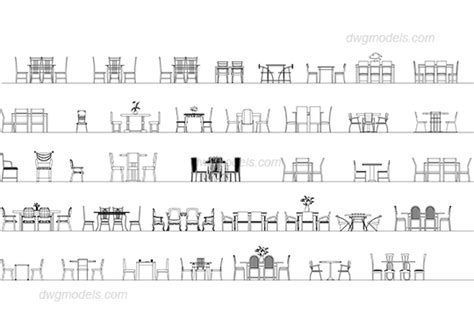 dining table cad block tables and chairs elevation dwg free cad blocks