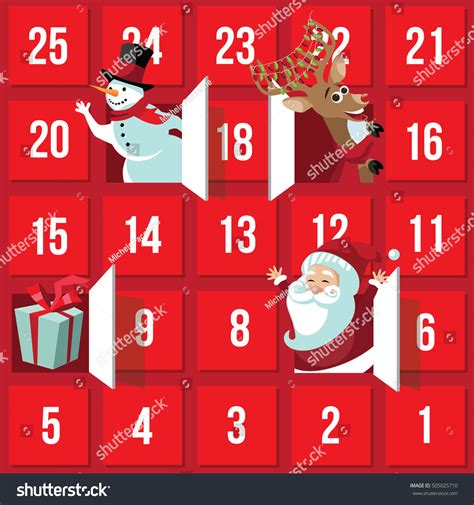 printable santa claus advent calendar christmas advent calendar santa claus reindeer stock