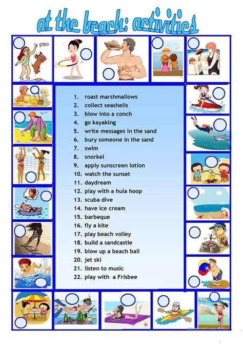 printable beach activity sheets at the beach activities we do worksheet free esl