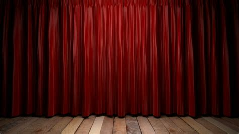 define curtain call high definition clip of an opening red stage curtain
