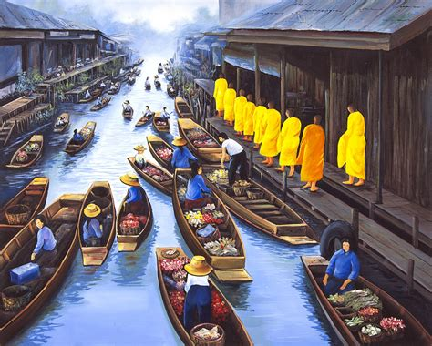 monk in the marketplace going to lead large books floating market monks painting by suvamlham