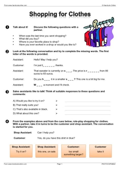 esl vocabulary worksheets from handouts online