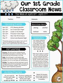 parent newsletter templates parent communication 1st grade the brown bag
