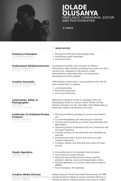Filmmaker Resume Template resume sles visualcv resume sles database