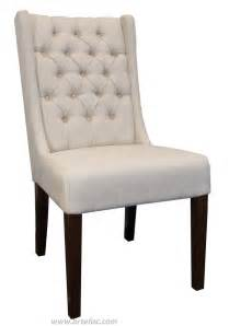 Fabric Dining Chair Leather Dining Room Kitchen Chairs Tufted Wing Back