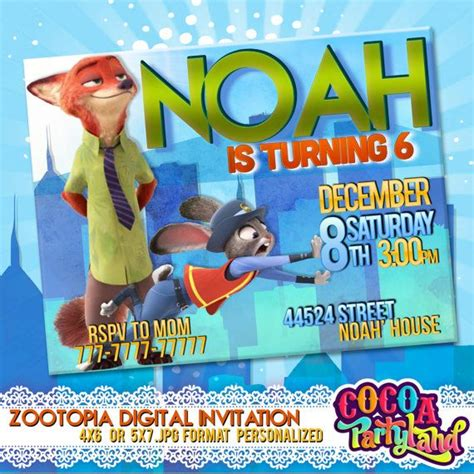 printable zootopia invitations 17 best images about zootopia birthday party on pinterest