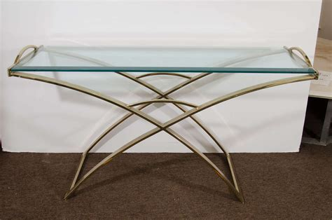 X Base Console Table A Midcentury Curved Brass X Base Console Table With Handles For Sale At 1stdibs