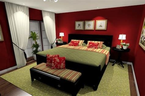 what type of paint to use in bedroom red bedroom paint with green accents dark wood furniture