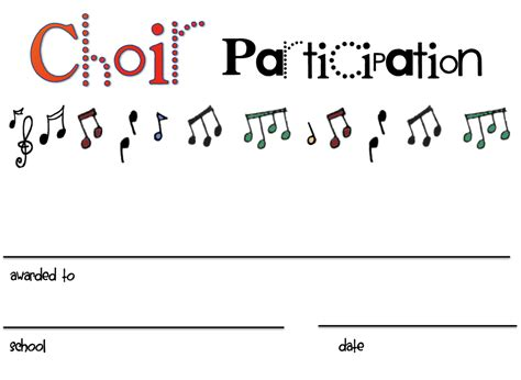 choir certificate template chorus certificates awards technologi information