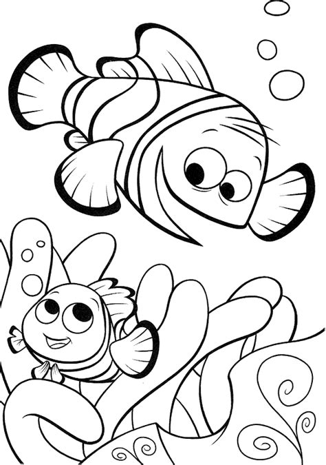 free clown fish outline coloring pages