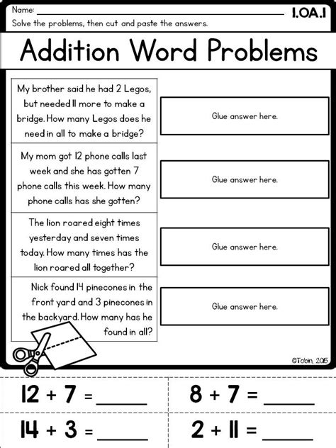1st Grade Math Worksheets Word Problems by 1st Grade Math Printables Worksheets Operations And