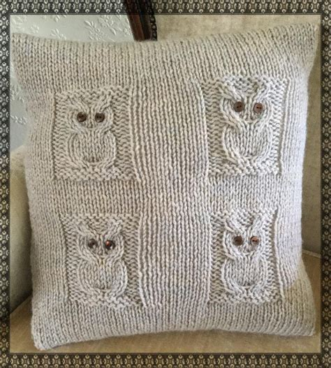 knitted owl cushion 4 owls cushion knitting pattern by the lonely sea