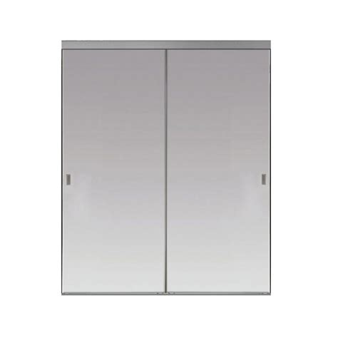 48 X 80 Sliding Closet Doors by Impact Plus 48 In X 80 In Beveled Edge Backed Mirror Aluminum Frame Interior Closet Sliding