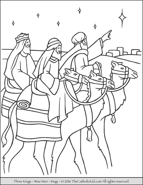 three kings magi wise men coloring page