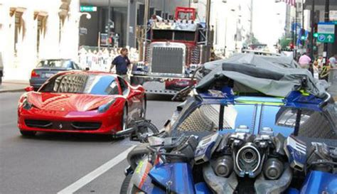 ferrari 458 italia spotted on the set of transformers 3 movie
