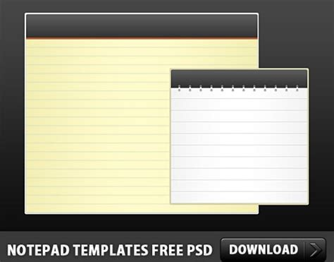 free notepad template notepad templates free psd free psd in photoshop psd