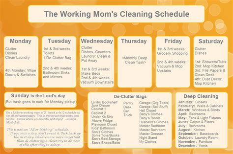 the working s cleaning schedule organizing