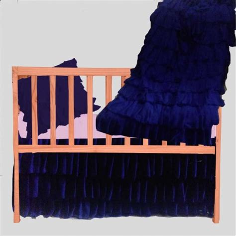 shabby chic layered navy blue baby boy crib bedding set 5 pc