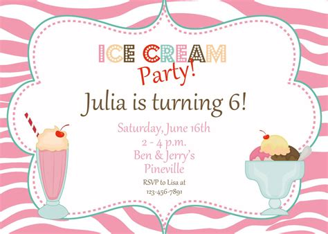 Zebra Print Ice Cream Party Birthday By Thebutterflypress On Etsy Social Invitation Template Free