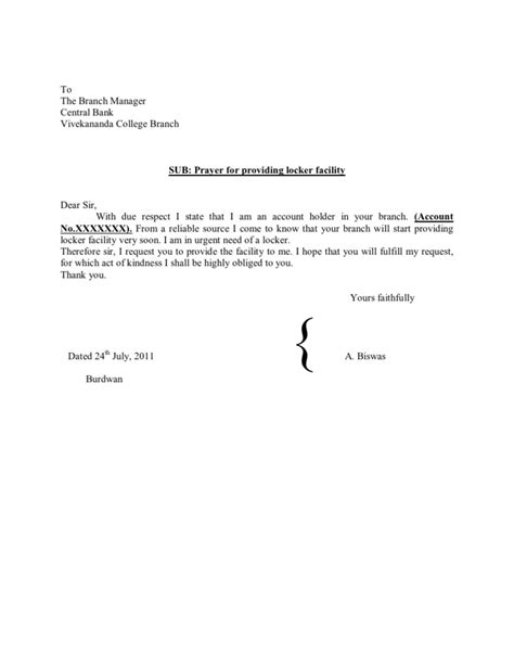 application letter for locker in bank write application to bank account format of noc