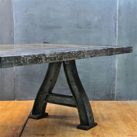 cast iron table l monumental cast iron industrial turbine leg dining table