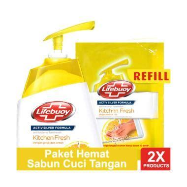 Sabun Tangan jual paket hemat sabun cuci tangan lifebuoy kitchen fresh 225 ml refill 180 ml
