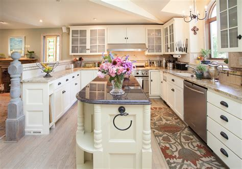 narrow kitchen island Kitchen Contemporary with beadboard ceiling ceiling beam   beeyoutifullife.com
