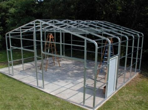 Steel Frame Shed 24 x 24 x 8 steel frame shed garage building kit