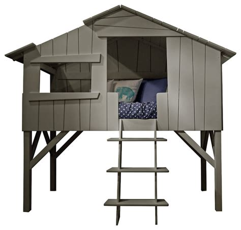 grey treehouse loft bed tree house twin bed beach style