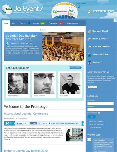 ja events template for joomla events joomla templates