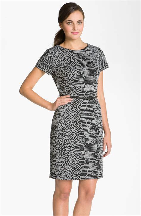 calvin klein knit dress calvin klein animal print ponte knit sheath dress in gray