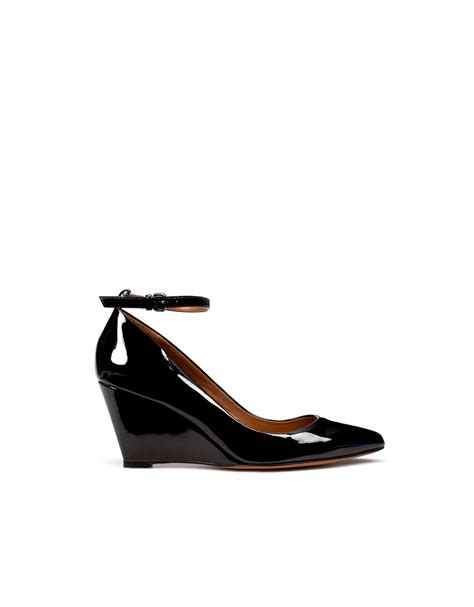 zara patent leather wedge shoe with ankle in black