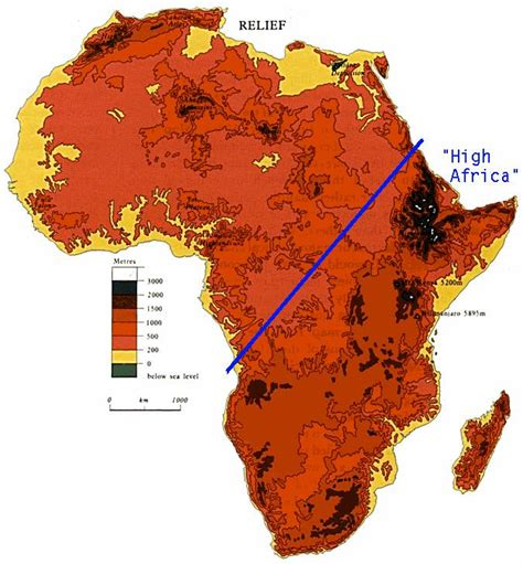 africa map key elevation map of africa with key map of africa