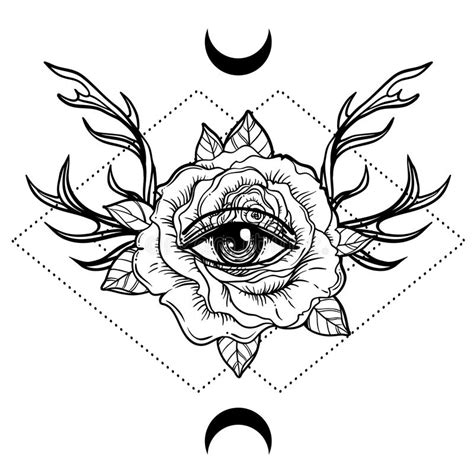 all seeing eye symbol over rose flower and deer antlers