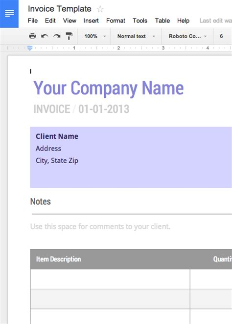 google docs invoice template best business template