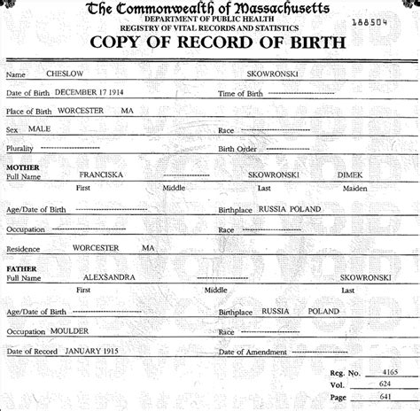 Birth Records Worcester Ma The Birth Of Chester Skowronski Steve S Genealogy