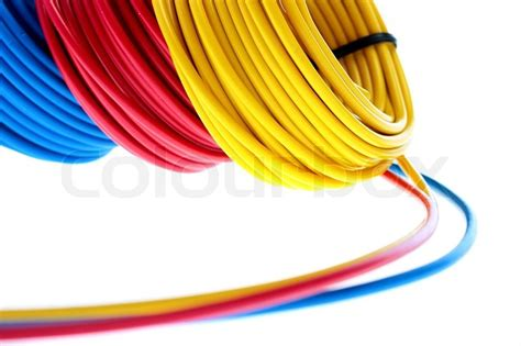 blue yellow electrical wires electric wires of yellow and blue colour are