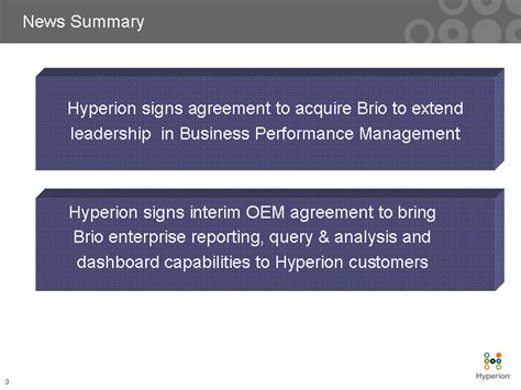 brio hyperion news summaryhyperion signs agreement to acquire brio to