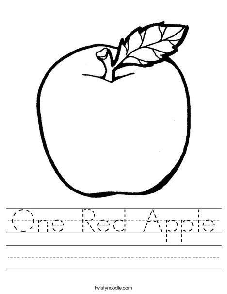 red apple coloring page one red apple worksheet twisty noodle